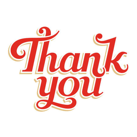 Thank You hand lettering, vector inscription