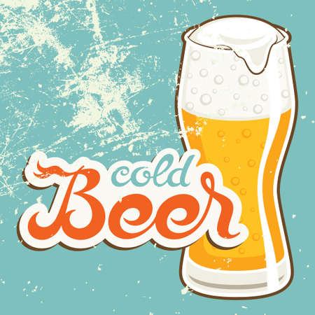 beer drinking: Cold Beer, vector illustration in old style
