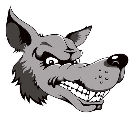wolf head: Wolf, cartoon vector illustration