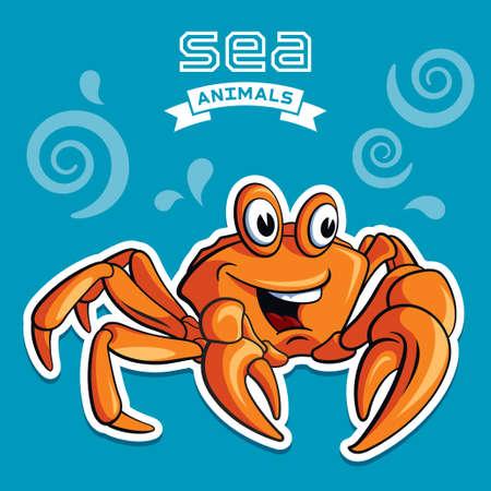 cangrejo caricatura: Ilustración vectorial de un cangrejo
