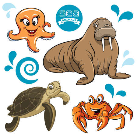 Vector set of sea animals Vector
