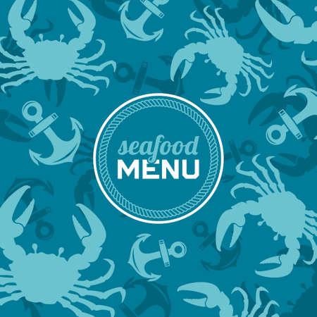restaurante: Menu de frutos do mar, ilustra