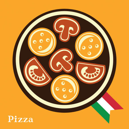 Pizza, abstract vector illustration