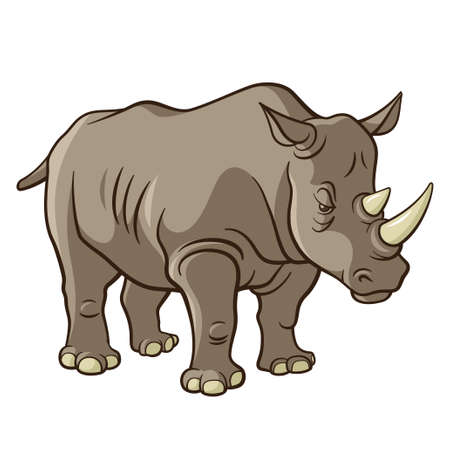 herbivore: Rhino, vector illustration