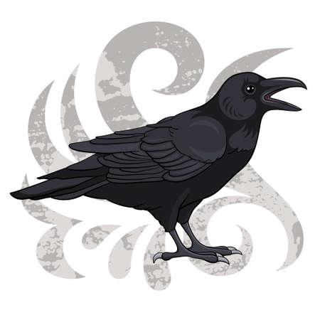 cuervo: Raven, ilustraci�n vectorial