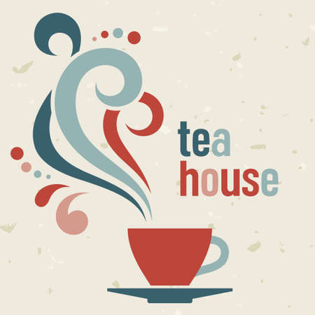 Tea house card  in old style, vector template Vector