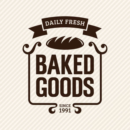 baked goods: Baked goods, vintage bakery label, vector illustration Illustration
