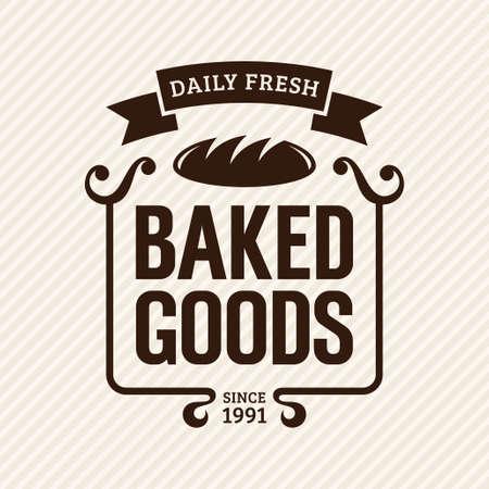 prodotti da forno: Prodotti da forno, pasticceria etichette d'epoca, illustrazione vettoriale