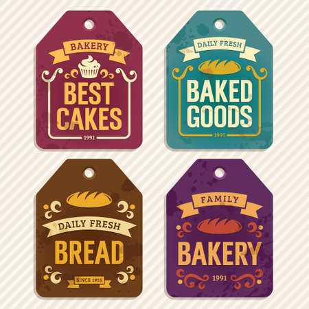 Retro bakery labels, vector illustration Vector