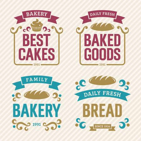 bakery shop: Vintage bakery labels, vector illustration