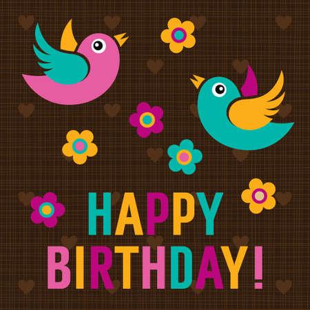 happy birthday card: Happy Birthday Card with cute birds, vector illustration
