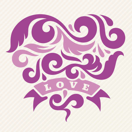 Abstract heart with the word love, vector illustration
