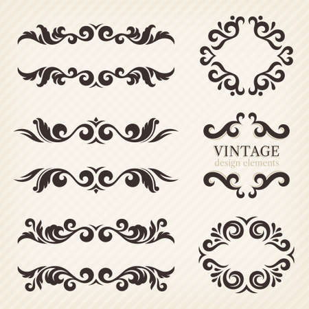 decorative border: Calligraphic design elements and page decoration, set of ornate patterns in retro style Illustration