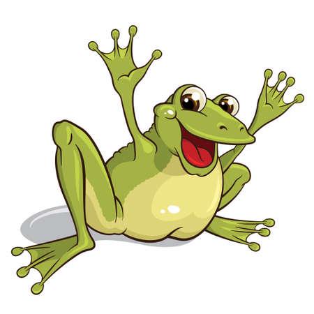 smiling frog: Ilustraci�n de una rana sonriente aislados sobre un fondo blanco