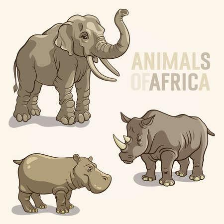 Vector illustrations d'animaux africains isolés sur un fond clair Banque d'images - 25276508