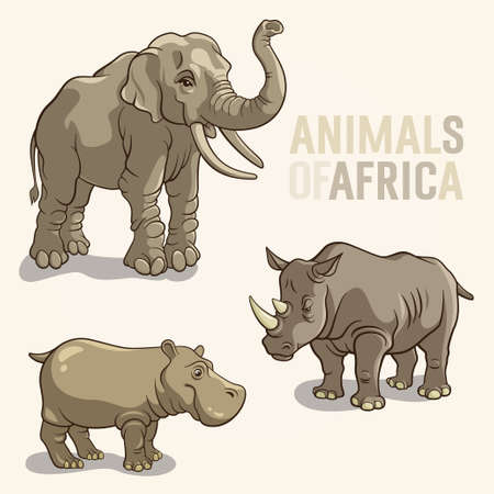 Vector illustrations of african animals isolated on a light background Ilustração