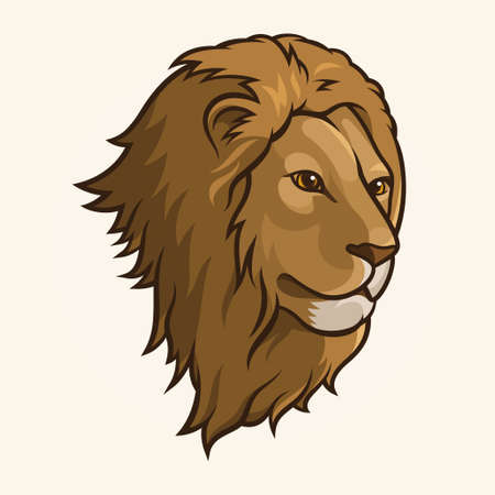Illustration of a lions head isolated on a light  Vector