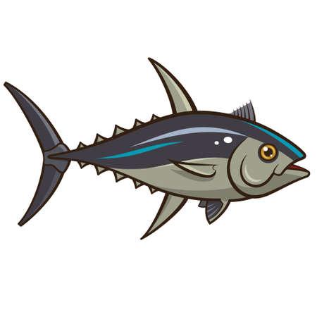 atun rojo: Ilustración vectorial de un atún aislado en un fondo blanco