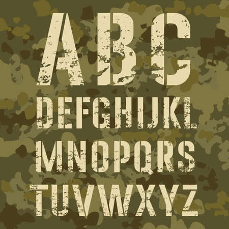 Military stencil alphabet on a camouflage illustration