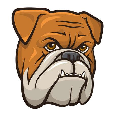 angry dog: Ilustración vectorial de un bulldog enojado aislado en un fondo blanco Vectores