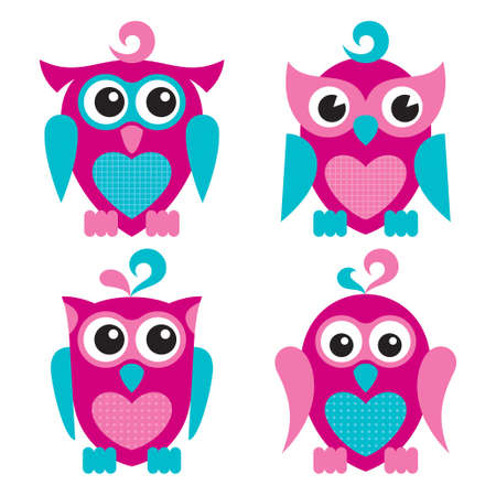 Vector illustration of cute owls, isolated on white background Vector