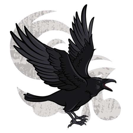 Vector illustratie van een vliegende zwarte raaf Stock Illustratie