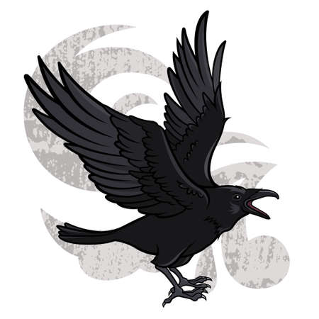 Vector illustration of a flying black raven
