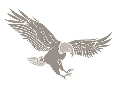 Ilustración vectorial de una silueta del águila calva Vectores