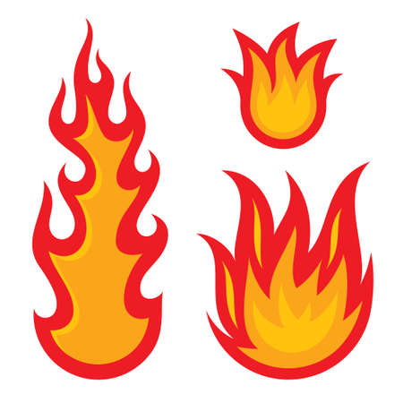 flammable: Fire flames isolated on a white background