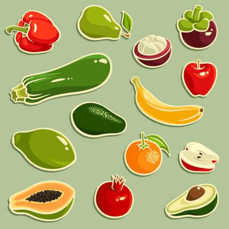 mangosteen: Vector illustration of fruits and vegetables: banana, pepper, pear, mangosteen, zucchini, pomegranate, orange, avocado, apple, papaya Illustration