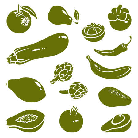artichoke: Silhouettes of fruits and vegetables: mangosteen, pepper, chili, pear, banana, avocado, orange, pomegranate, zucchini, papaya, artichoke Illustration
