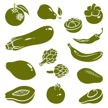 papaya: Silhouettes of fruits and vegetables: mangosteen, pepper, chili, pear, banana, avocado, orange, pomegranate, zucchini, papaya, artichoke Illustration