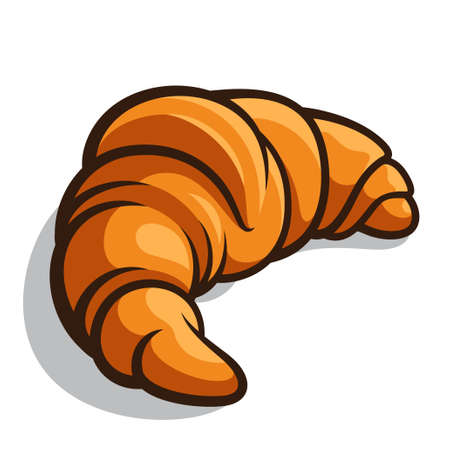 croissant: Delicious baked croissant isolated on a white background