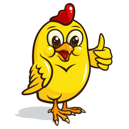 Vector illustration of a cute, yellow chicken isolated on a white background Vector