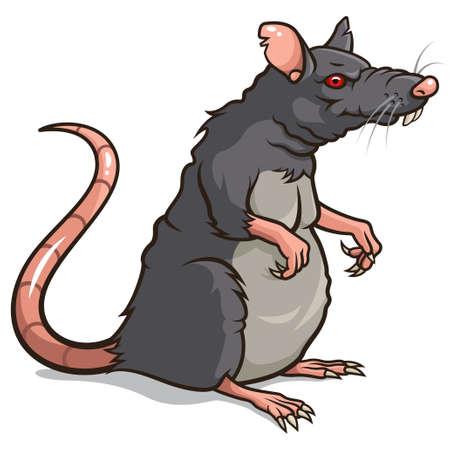 rata caricatura: ilustración de un Aislado de rata en un fondo blanco Vectores