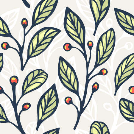 coffee tree: Floral hand drawn seamless pattern. Vector illustration for your design.