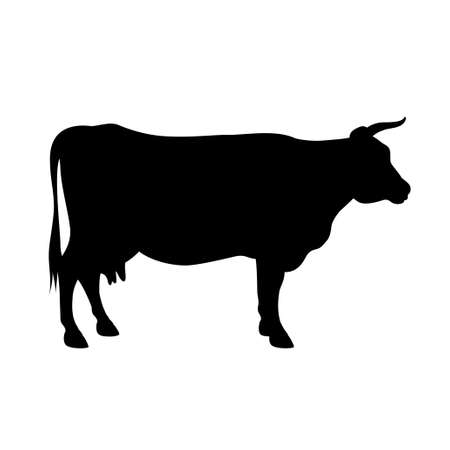 Vector silhouette of a cow isolated on white