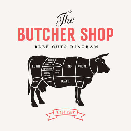 Beef cuts diagram, vector illustration for your design  イラスト・ベクター素材