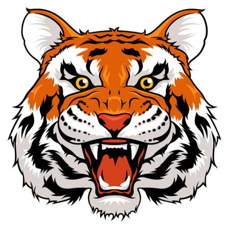 Vector illustration de tigre fâché isolé sur blanc
