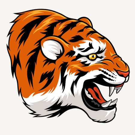 spiteful: Vector illustration of a tiger head. Suitable as a tattoo or sport team mascot