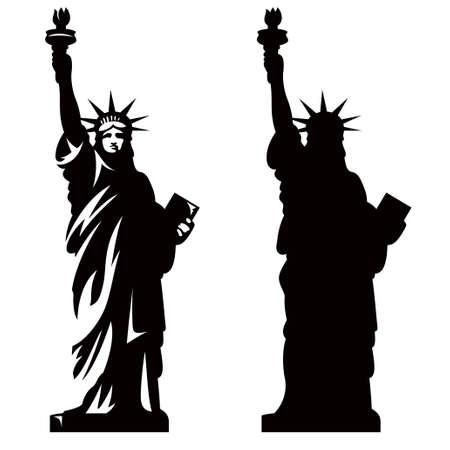 자유의 여신상. 뉴욕의 랜드 마크. 미국의 상징. 벡터 실루엣