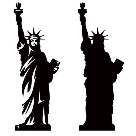 usa patriotic: Statue of Liberty. New York landmark. American symbol. Vector silhouette
