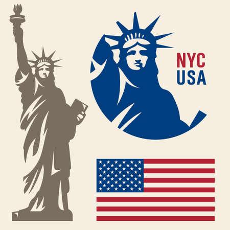 자유의 여신상. 뉴욕의 랜드 마크. 미국의 상징. 미국 국기 일러스트