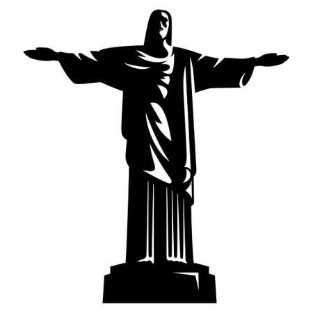 Standbeeld van Christus de Verlosser. Rio de Janeiro. Brazilië Stock Illustratie