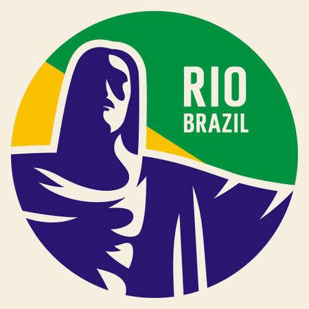 corcovado: Travel sticker Brazil. Vector illustration. Luggage sticker