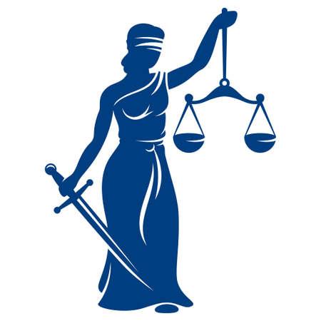 dama de la justicia: Themis con las escalas y la espada aislados en blanco Vectores