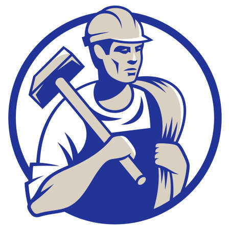 construction logo: Vector illustration of a builder construction worker with hammer Illustration