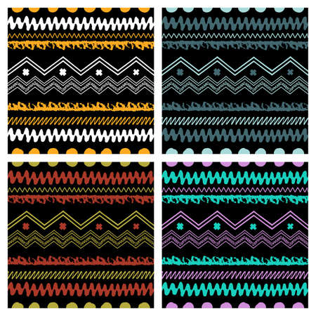 stripes pattern: Set of Hand drawn painted ethnic seamless patterns. Tribal  traditional pattern of American indians. Use for wallpaper, pattern fills, web page background, fabric. Zigzag and stripe line.