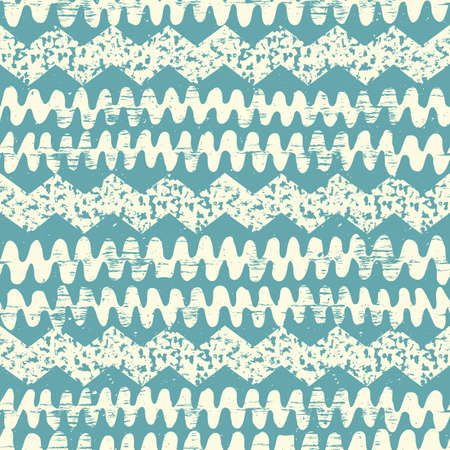 indian paint brush: Abstract wave background. Hand drawn painted ethnic seamless pattern with grunge effect. African tribal traditional pattern. Use for wallpaper, pattern fills, web page background, fabric Illustration