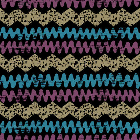 Hand drawn painted ethnic seamless pattern with grunge effect. African tribal traditional pattern. Use for wallpaper, pattern fills, web page background, fabric. Zigzag and stripe line. Vector